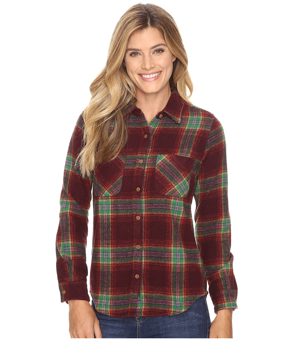 United By Blue - Cayley Wool Plaid (Oxblood/Green) Women's Clothing
