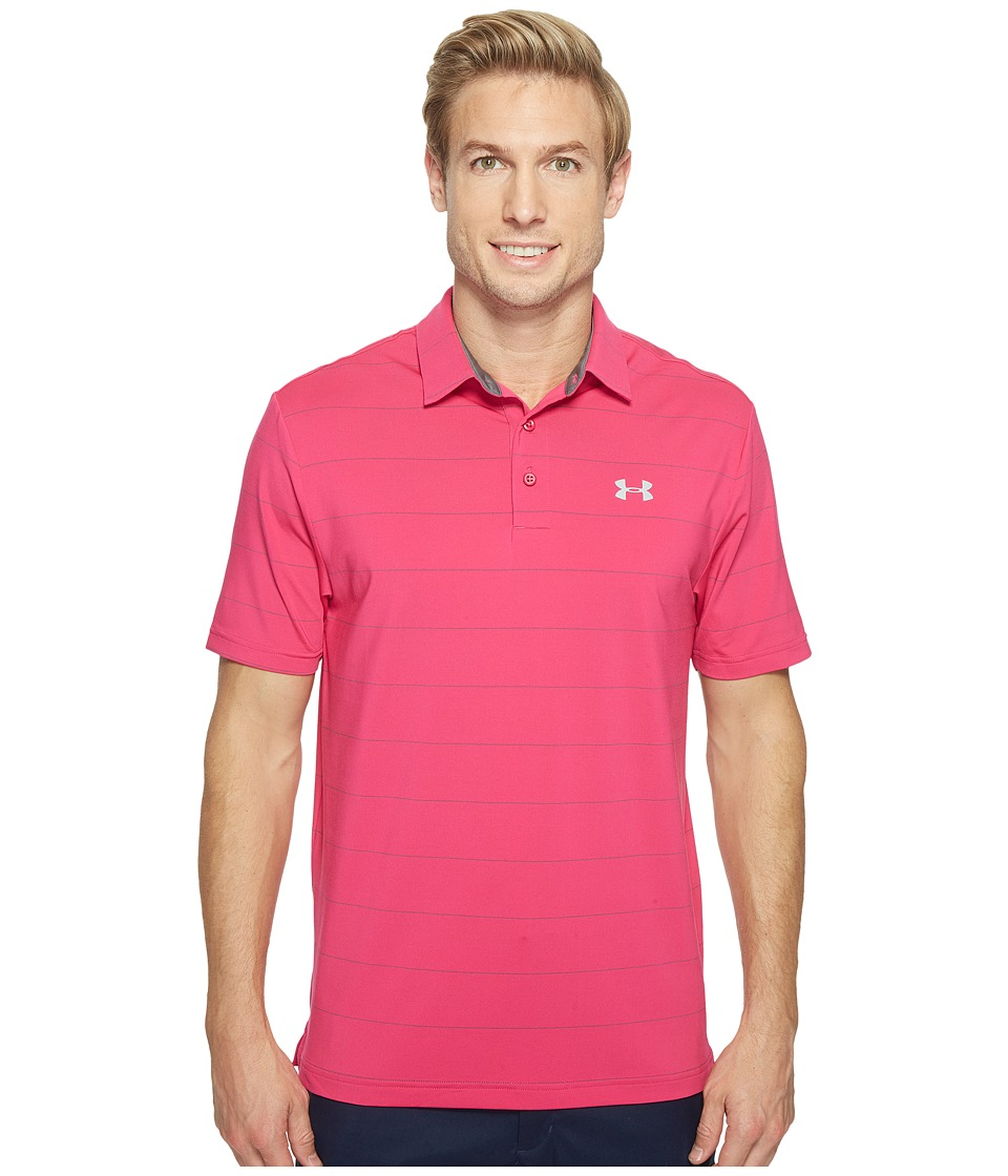 Under Armour Golf - UA Playoff Polo - Power In Pink (Tropic Pink/Graphite/Overcast Gray) Men's Clothing