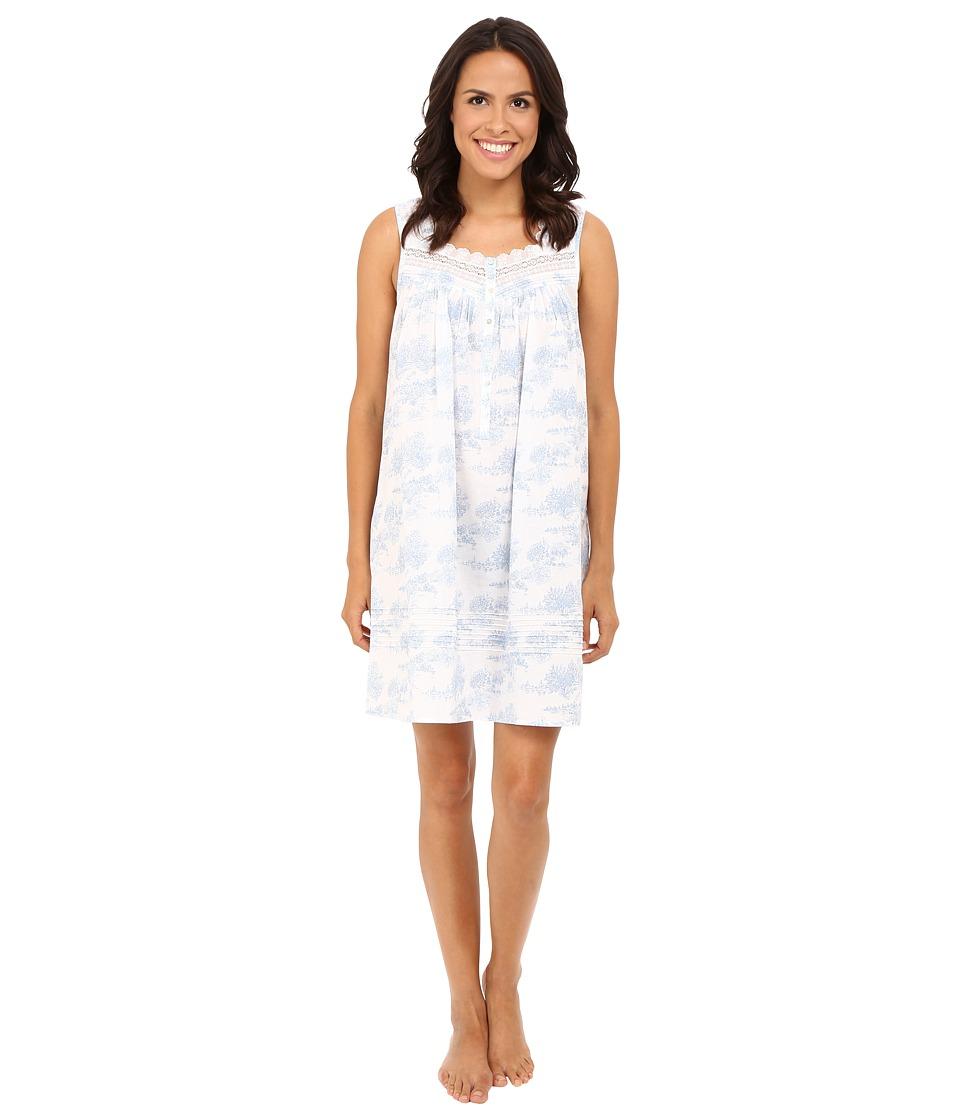 Eileen West - Short Nightgown Sleeveless (White/Print) Women's Pajama