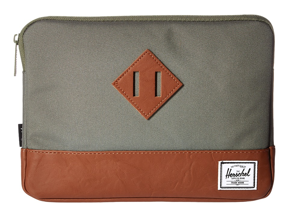 Herschel Supply Co. - Heritage Sleeve for iPad Air (Deep Lichen Green/Tan Synthetic Leather) Wallet