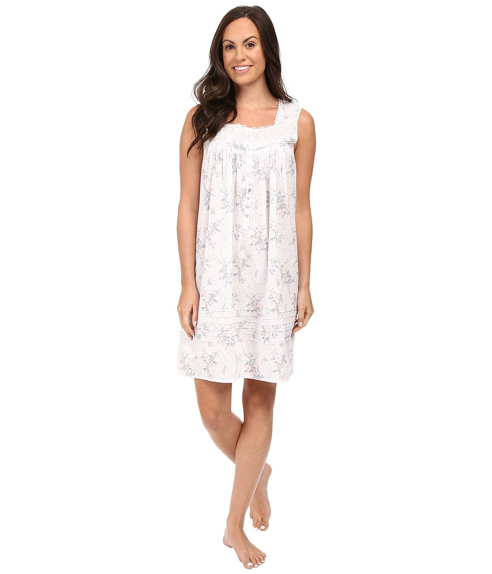 Eileen West - Short Chemise Sleeveless (White/Floral) Women's Pajama