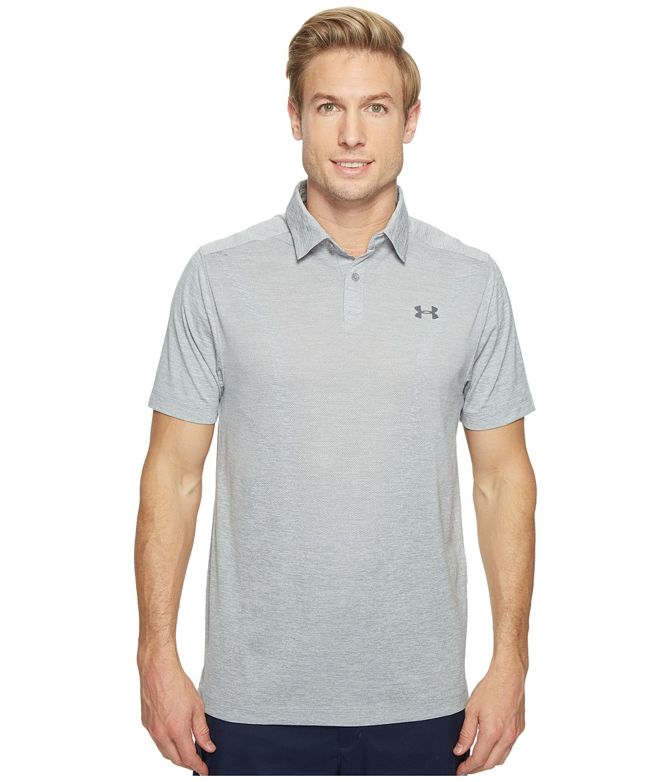 Under Armour Golf - Threadborne Jacquard Polo (True Gray Heather/Rhino Gray/Rhino Gray) Men's Clothing