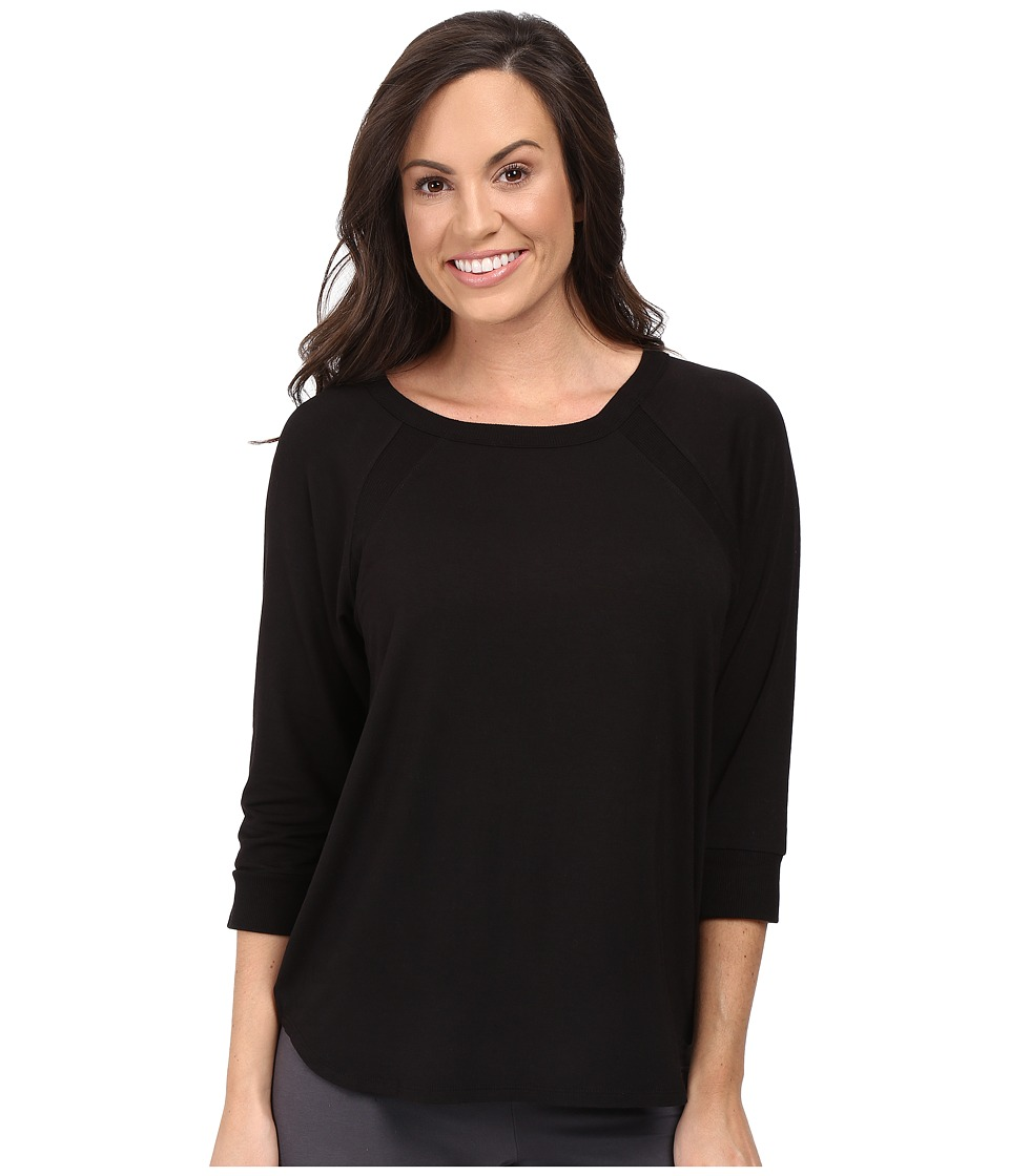 DKNY - 3/4 Sleeve Jersey Top (Black) Women's Pajama