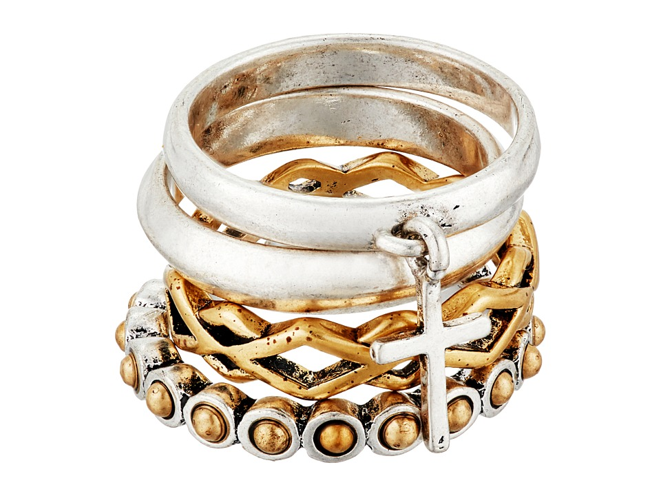 Lucky Brand - Cross Two-Tone Ring Stack (Two-Tone) Ring