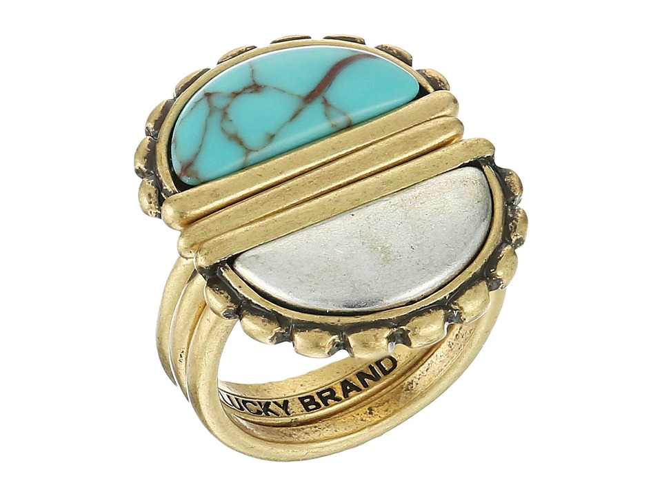 Lucky Brand - Turquoise and Two-Tone Stack Ring (Two-Tone) Ring