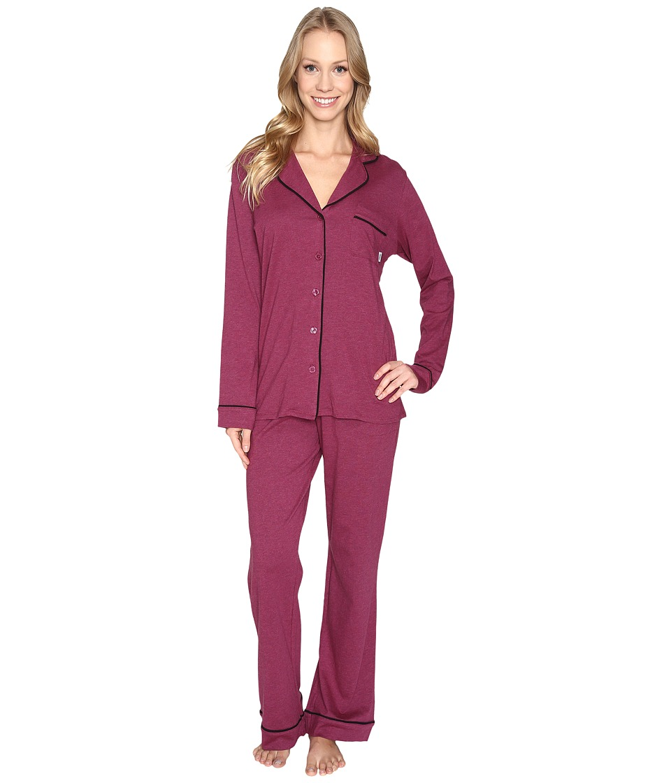 DKNY - Long Sleeve Top Pants PJ Set (Cranberry Heather) Women's Pajama Sets