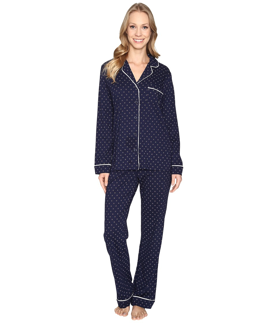 DKNY - Long Sleeve Top Pants PJ Set (Peacoat Geo) Women's Pajama Sets
