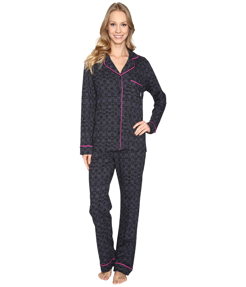 DKNY - Long Sleeve Top Pants PJ Set (Black Abstract Dot) Women's Pajama Sets