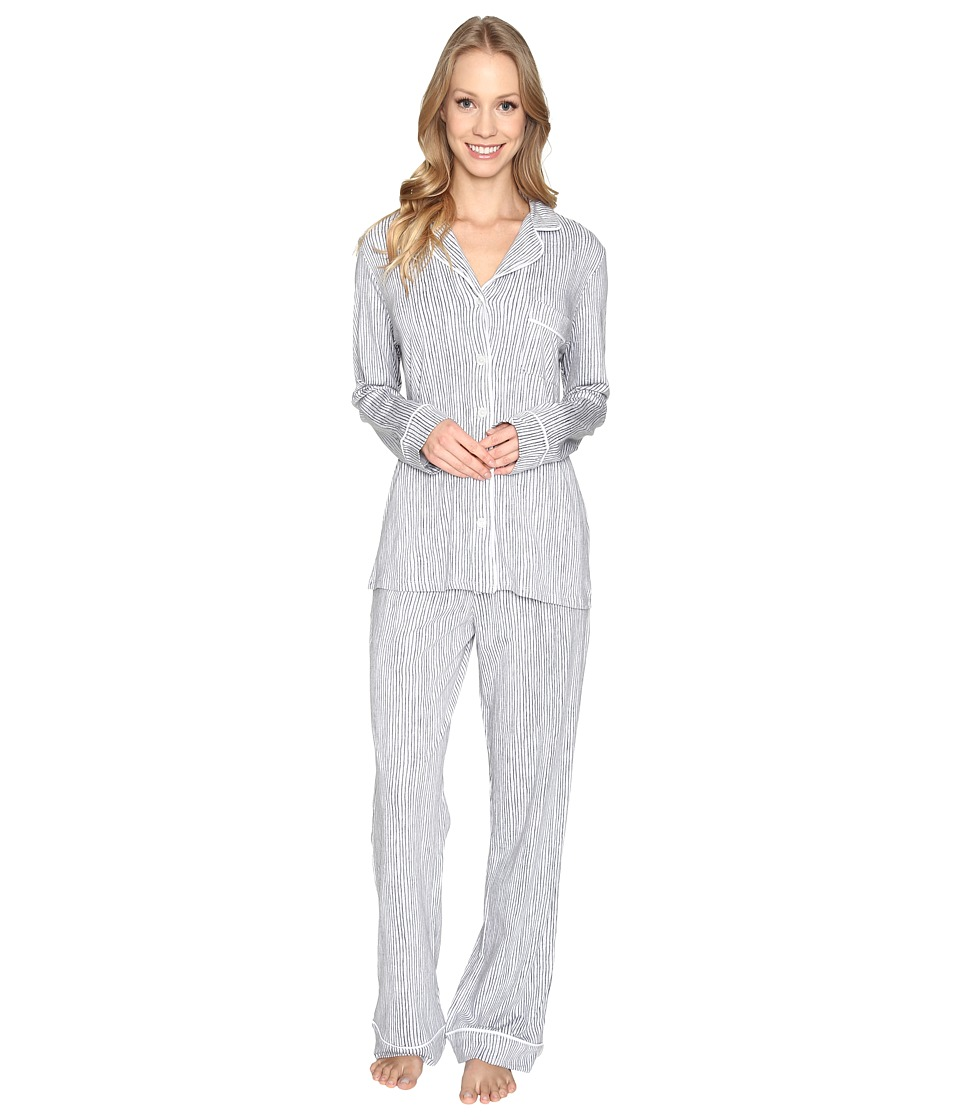 DKNY - Long Sleeve Top Pants PJ Set (Tin Heather Stripe) Women's Pajama Sets