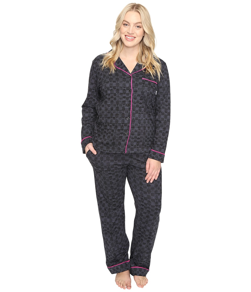 DKNY - Plus Size Long Sleeve Top Pants PJ Set (Black Abstract Dot) Women's Pajama Sets