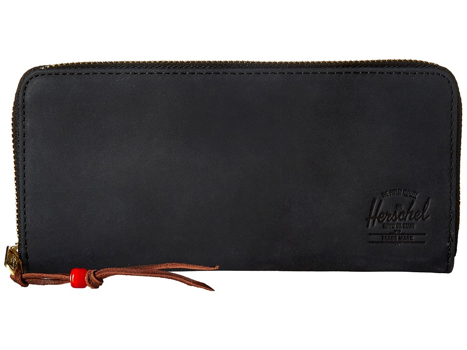 Herschel Supply Co. - Avenue with Zipper Leather (Black Nubuck Leather) Wallet Handbags