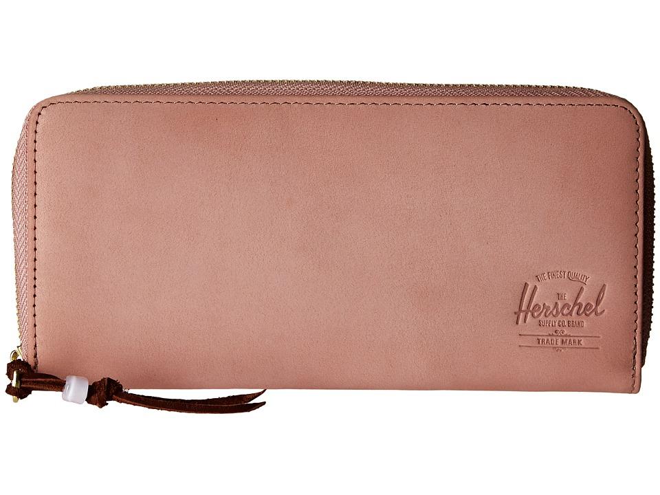 Herschel Supply Co. - Avenue with Zipper Leather (Ash Rose Nubuck Leather) Wallet Handbags
