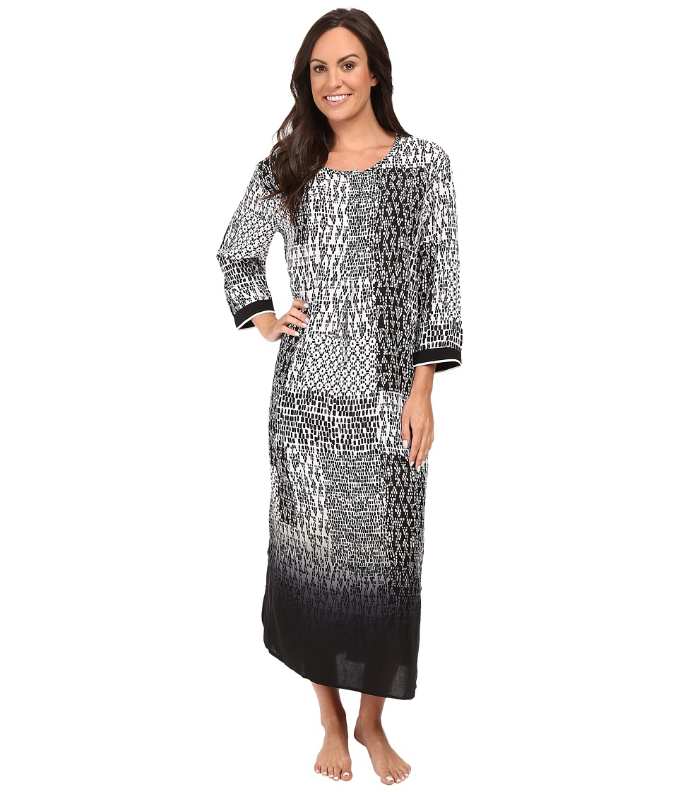 DKNY - Long Caftan 3/4 (Black Print) Women's Pajama