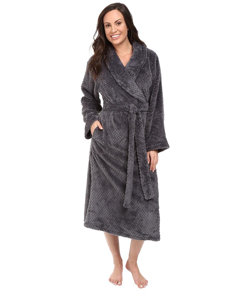 Eileen West - Long Sleeve Ballet Wrap Robe (Solid Slate) Women's Robe