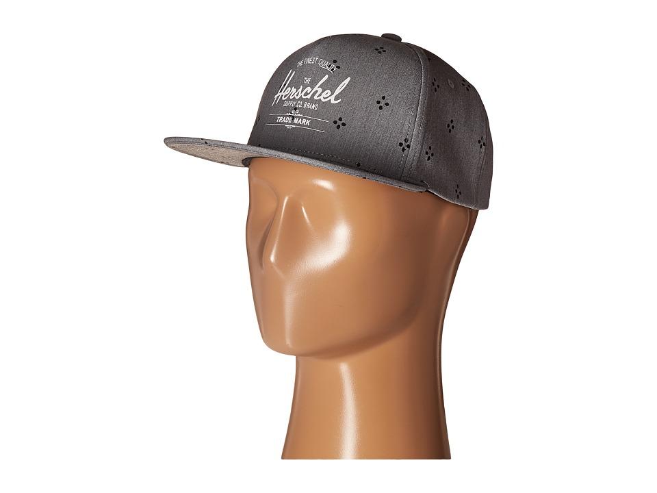 Herschel Supply Co. - Whaler (Heathered Grey Japanese Polka Dot/Black) Caps