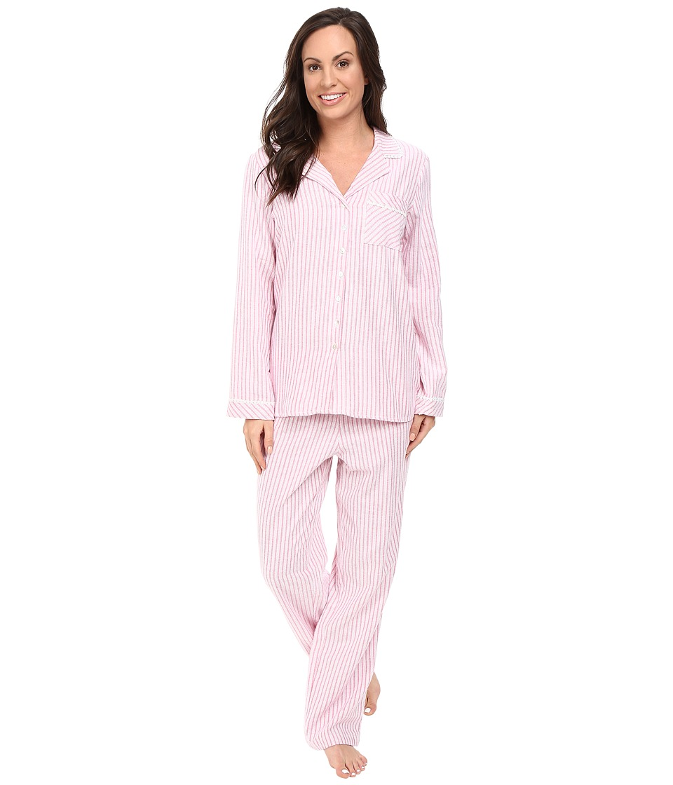 Eileen West - Notch Collar Pajama (White/Print) Women's Pajama Sets