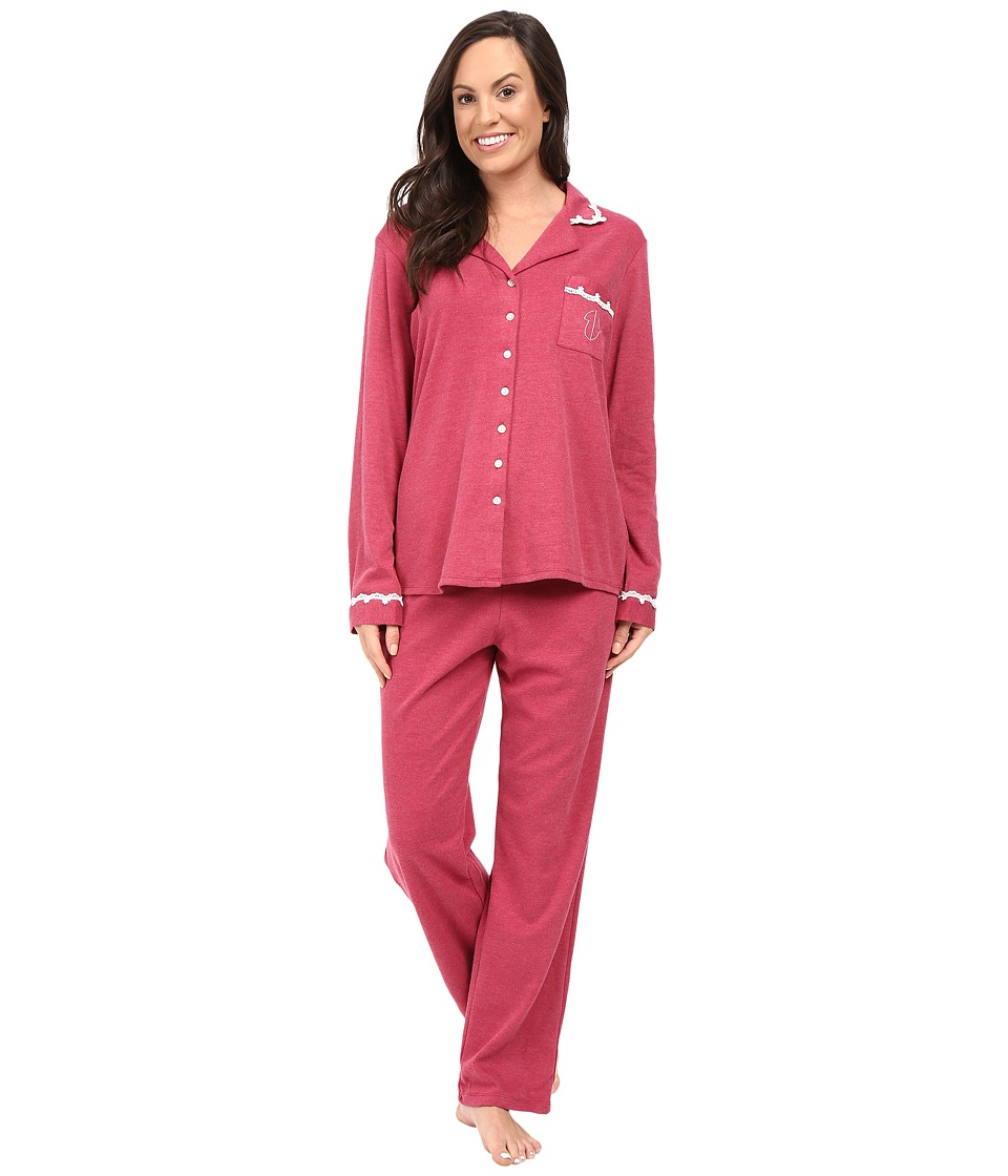 Eileen West - Notch Collar Pajama (Red Heather) Women's Pajama Sets