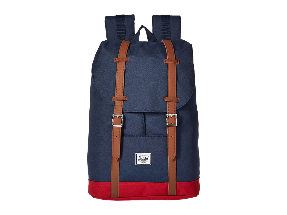 Herschel Supply Co. - Retreat Mid-Volume (Navy/Red/Tan Synthetic Leather) Backpack Bags