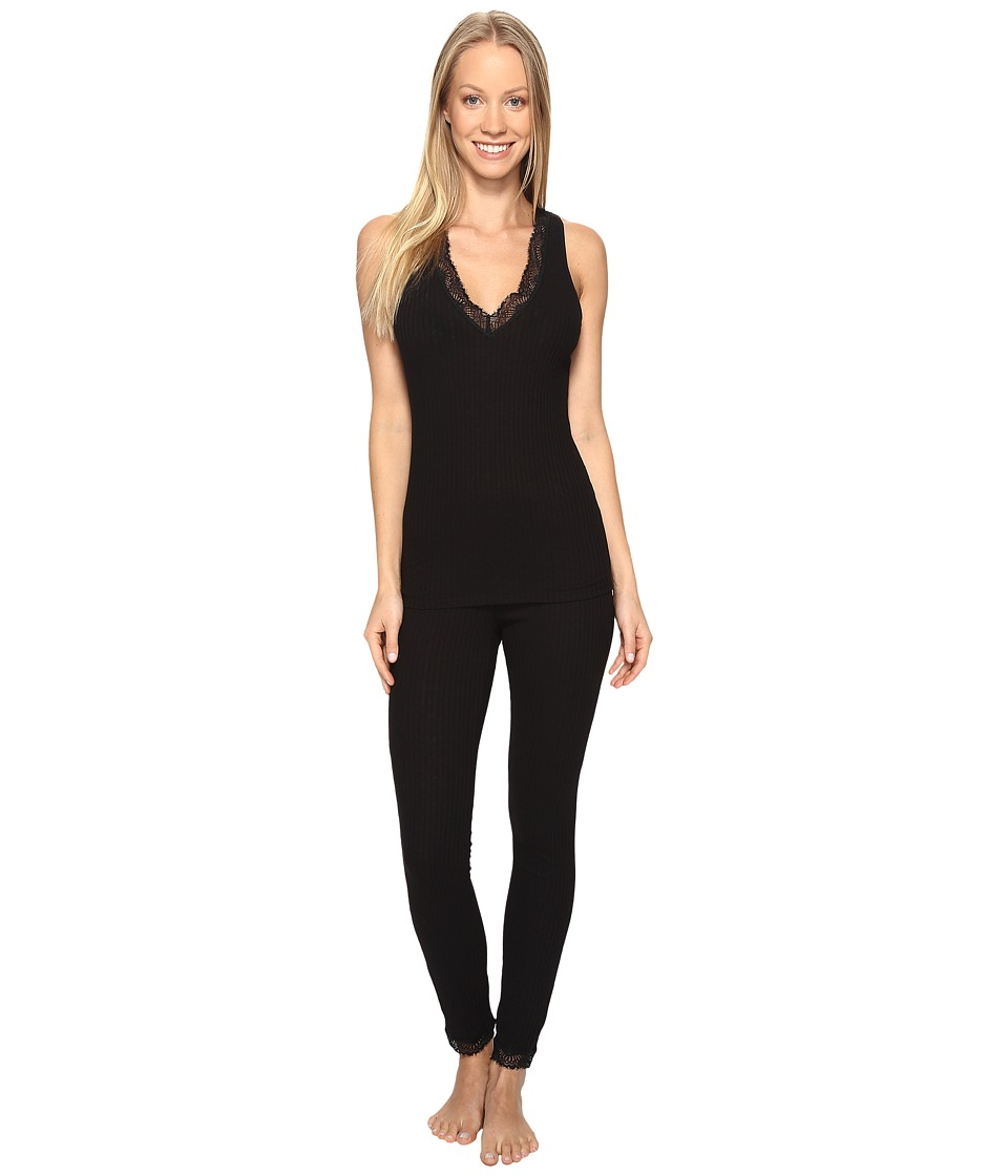 Josie - Rib Lace Tank PJ (Black) Women's Pajama Sets