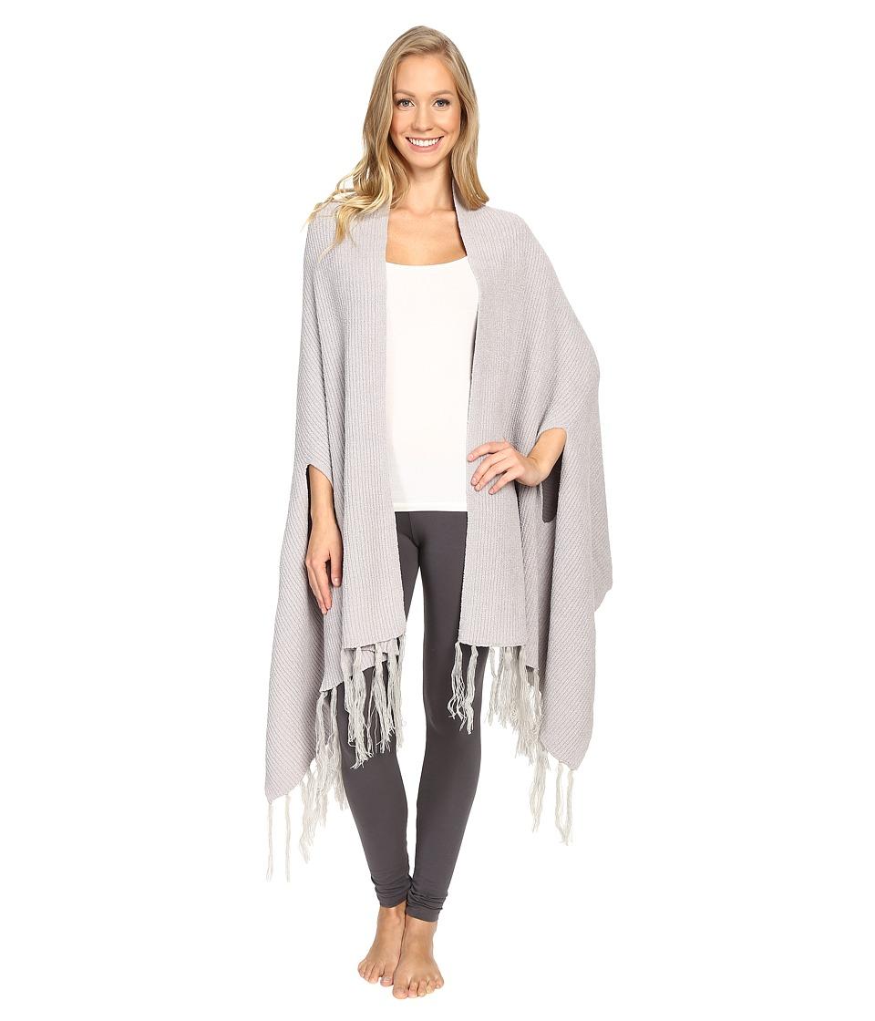 N by Natori - Chenille Blanket Shawl w/ Fringe (Silver) Women's Pajama