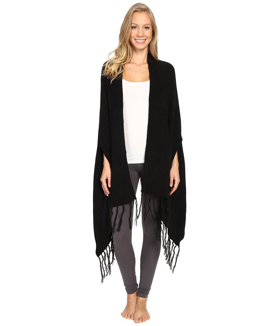 N by Natori - Chenille Blanket Shawl w/ Fringe (Black) Women's Pajama