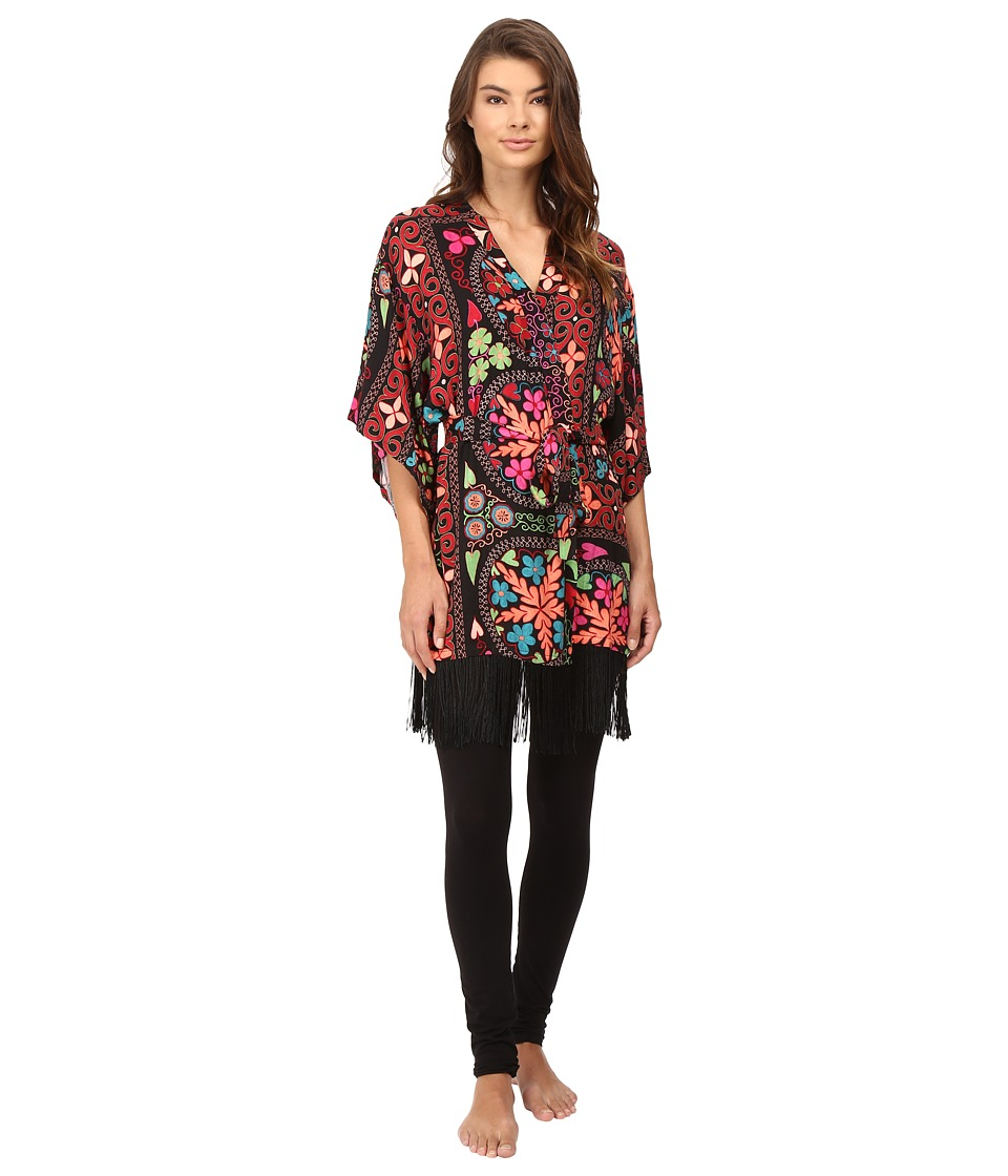 Josie - Quilted Mojave Wrap with Fringe (Black Multi) Women's Pajama