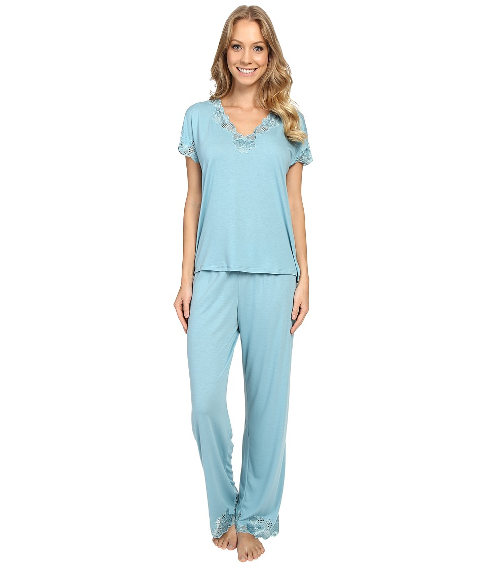 Natori - Zen Floral S/S PJ (Blue Shell) Women's Pajama Sets