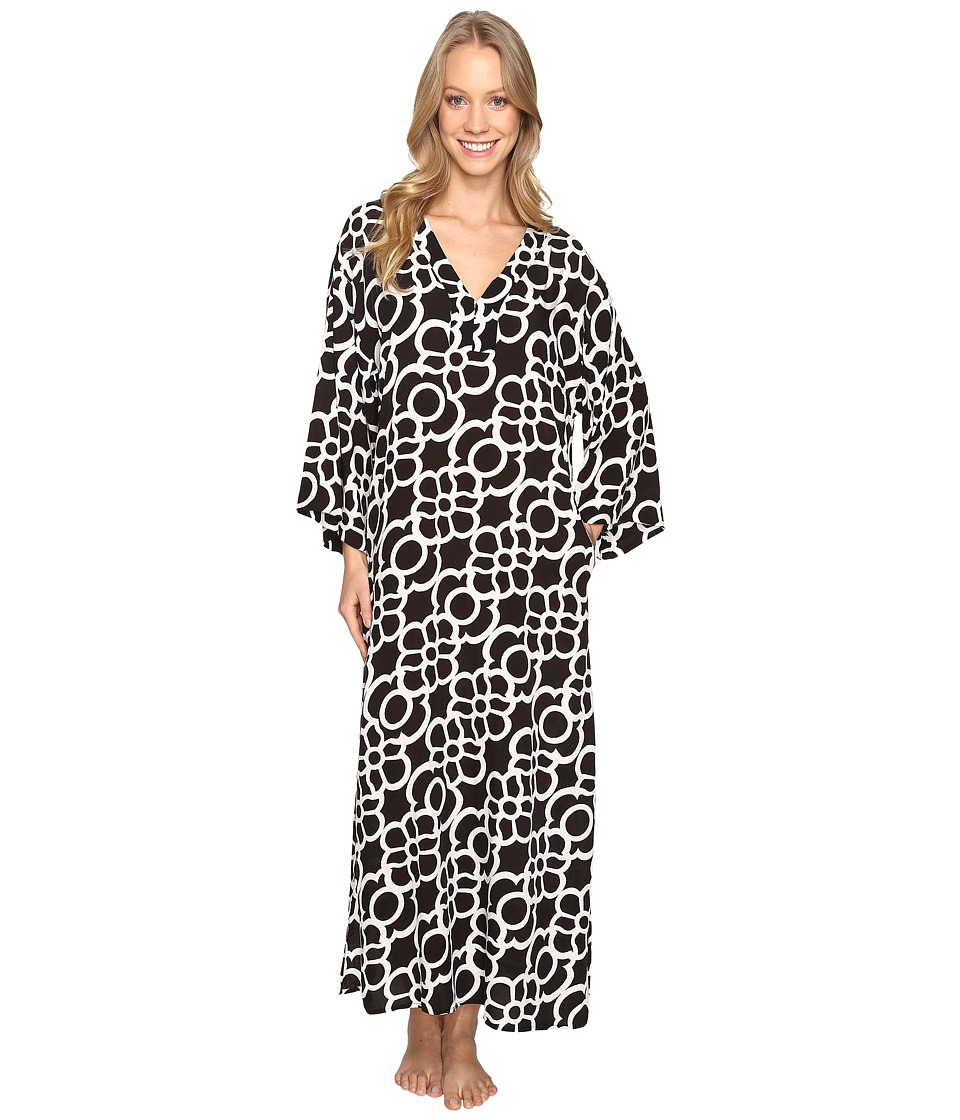 N by Natori - Linked Challis Caftan (Black) Women's Pajama