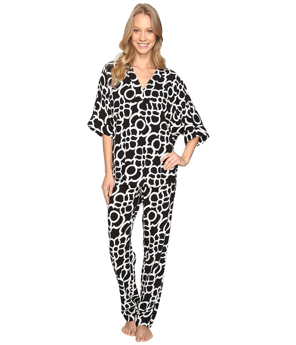 N by Natori - Linked Challis PJ Set (Black) Women's Pajama Sets