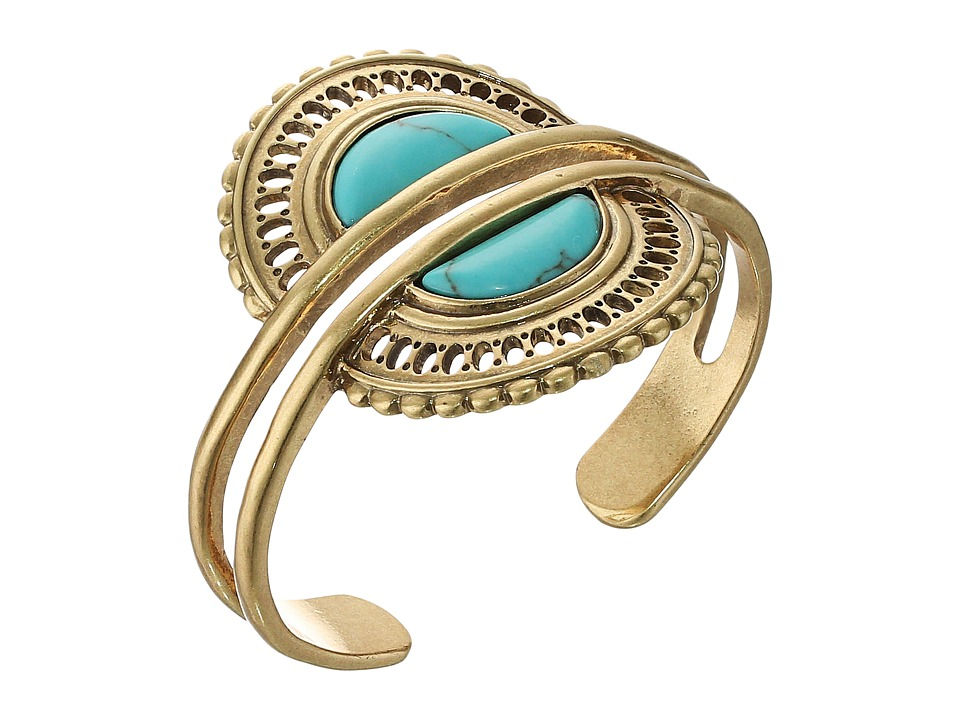 Lucky Brand - Turquoise Double Cuff Bracelet (Gold) Bracelet