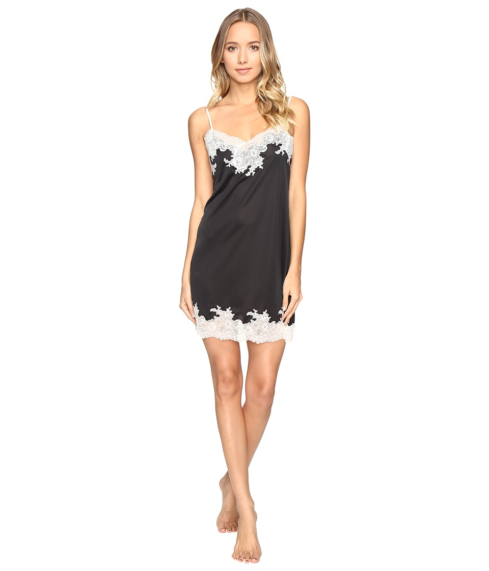 Natori - Enchant Lace Trim Chemise (Black/Shell Pink Lace) Women's Pajama