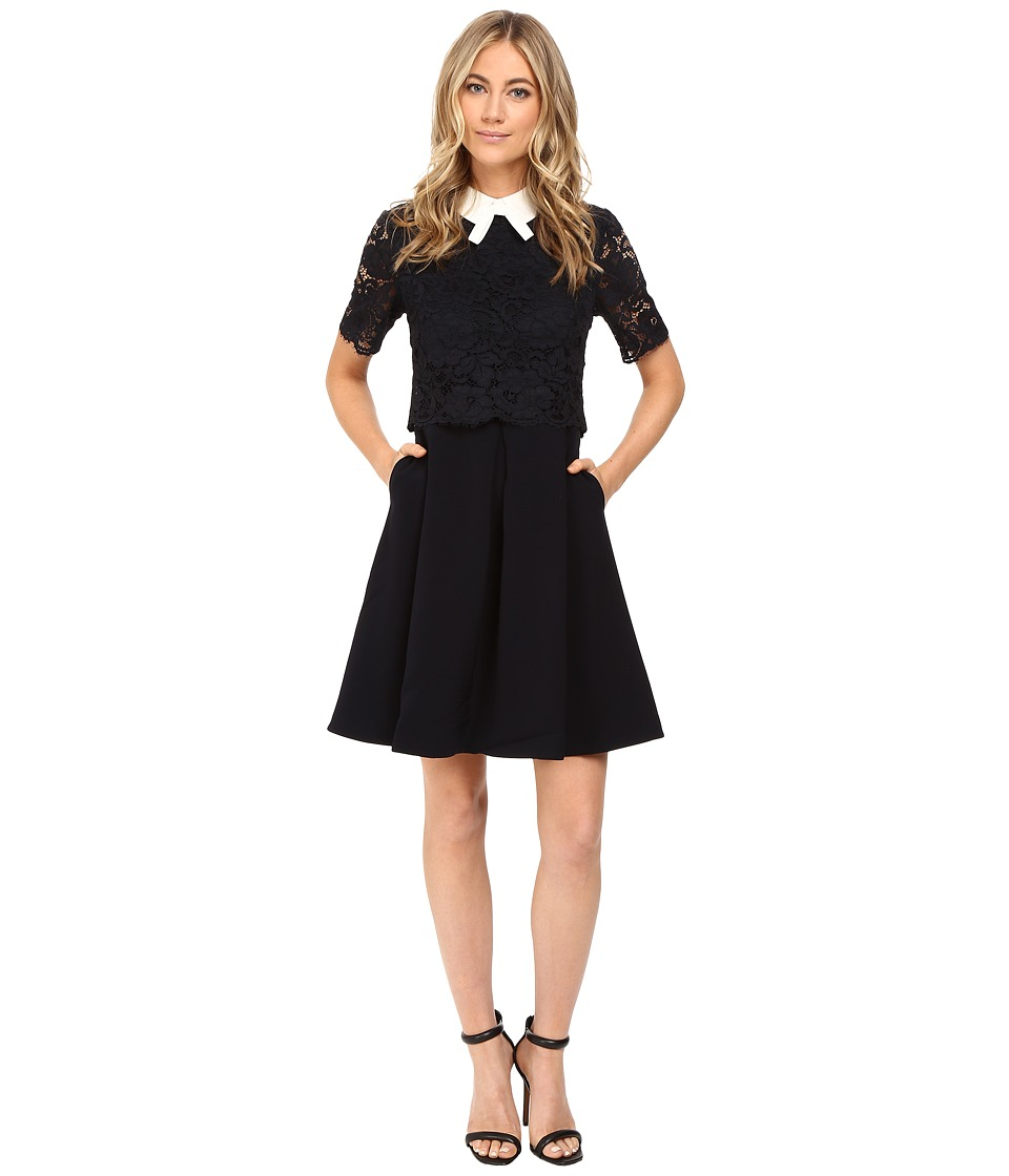 Ted Baker - Dixxy Lace Bodice Double Layer Dress (Navy) Women's Dress