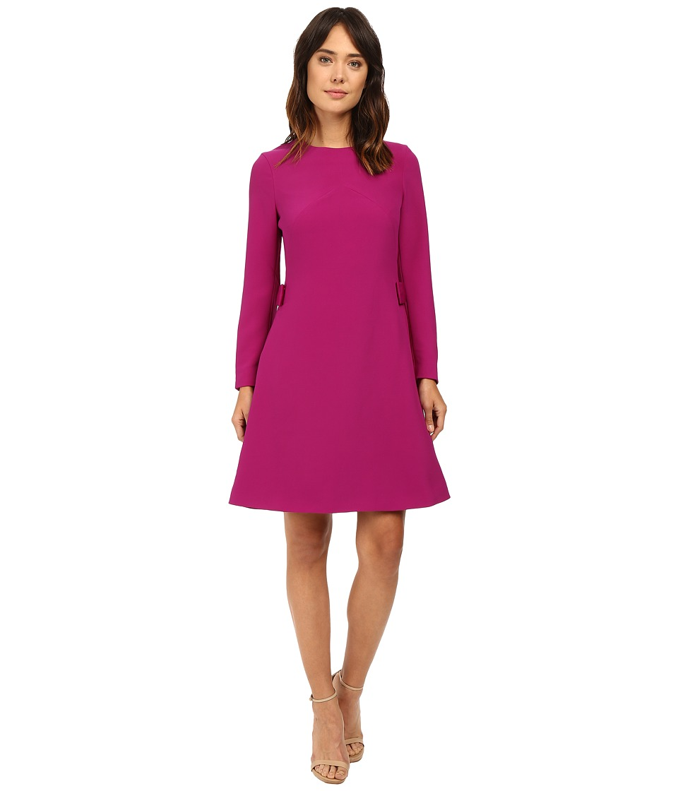 Ted Baker - Emorly Side Pleat Long Sleeve Dress (Purple) Women's Dress