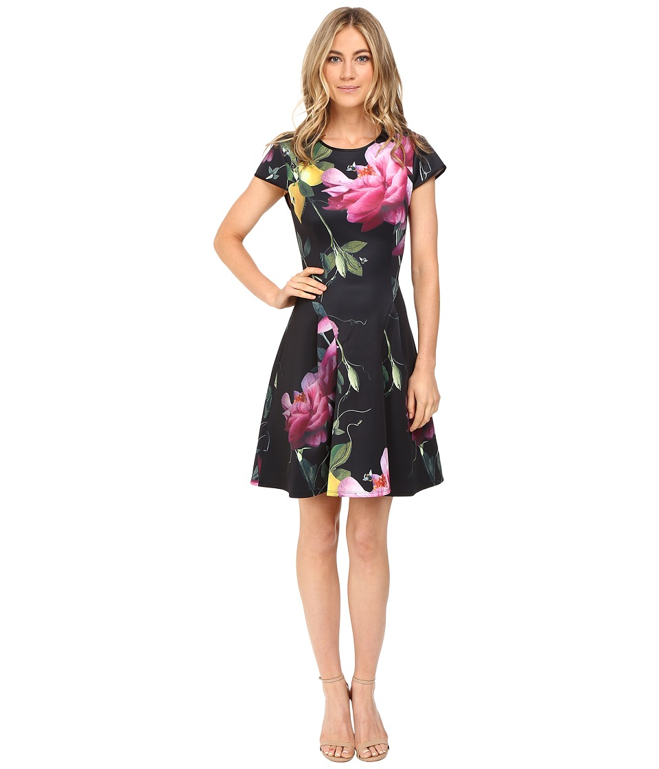 Ted Baker - Allisia Citrus Bloom Skater Dress (Black) Women's Dress
