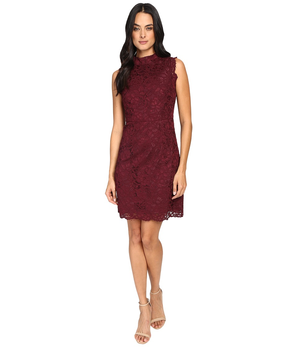 Ted Baker Latoya High Neck Lace Mini Dress (Oxblood) Women