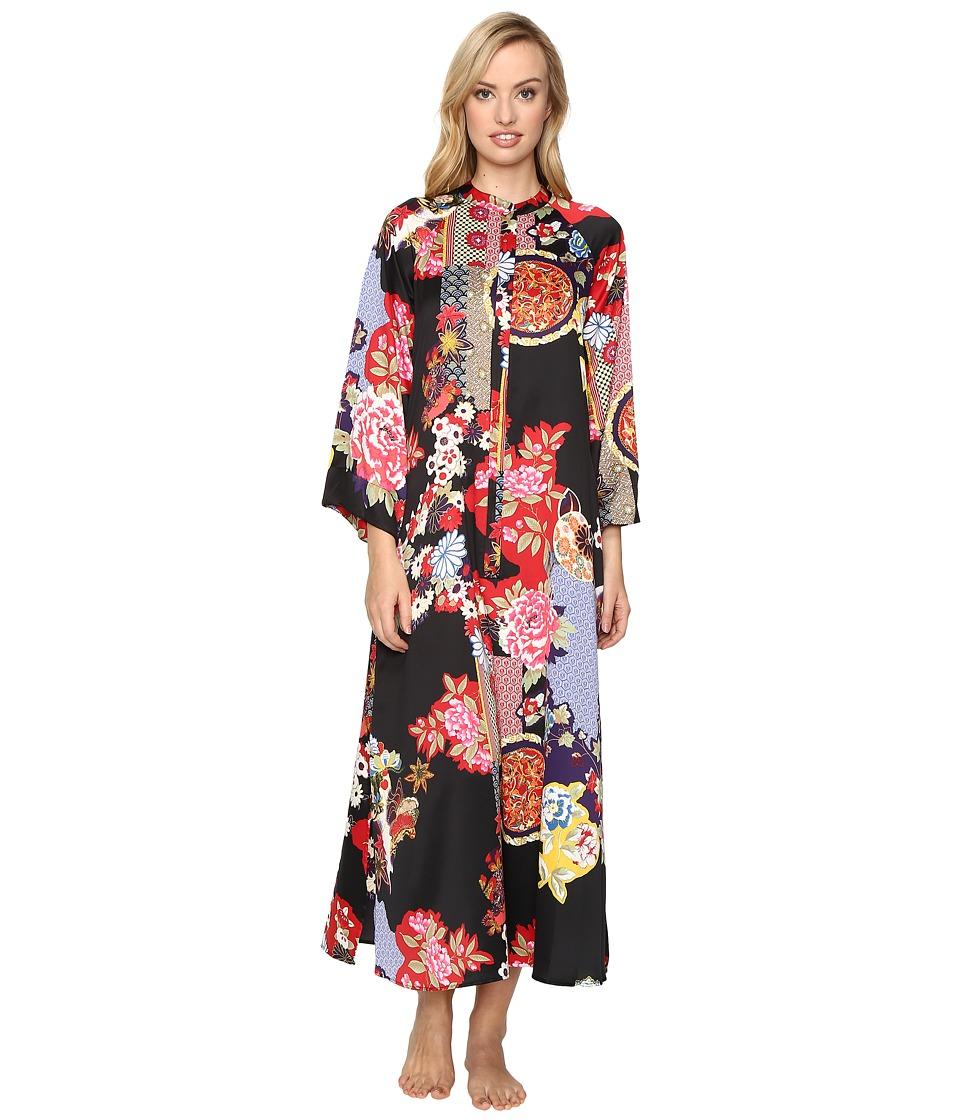 Natori - Mikado Zip Caftan (Black) Women's Pajama
