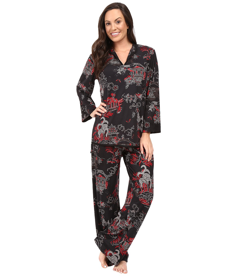 N by Natori - Pagoda Knit PJ Set (Black/Pomegranate) Women's Pajama Sets