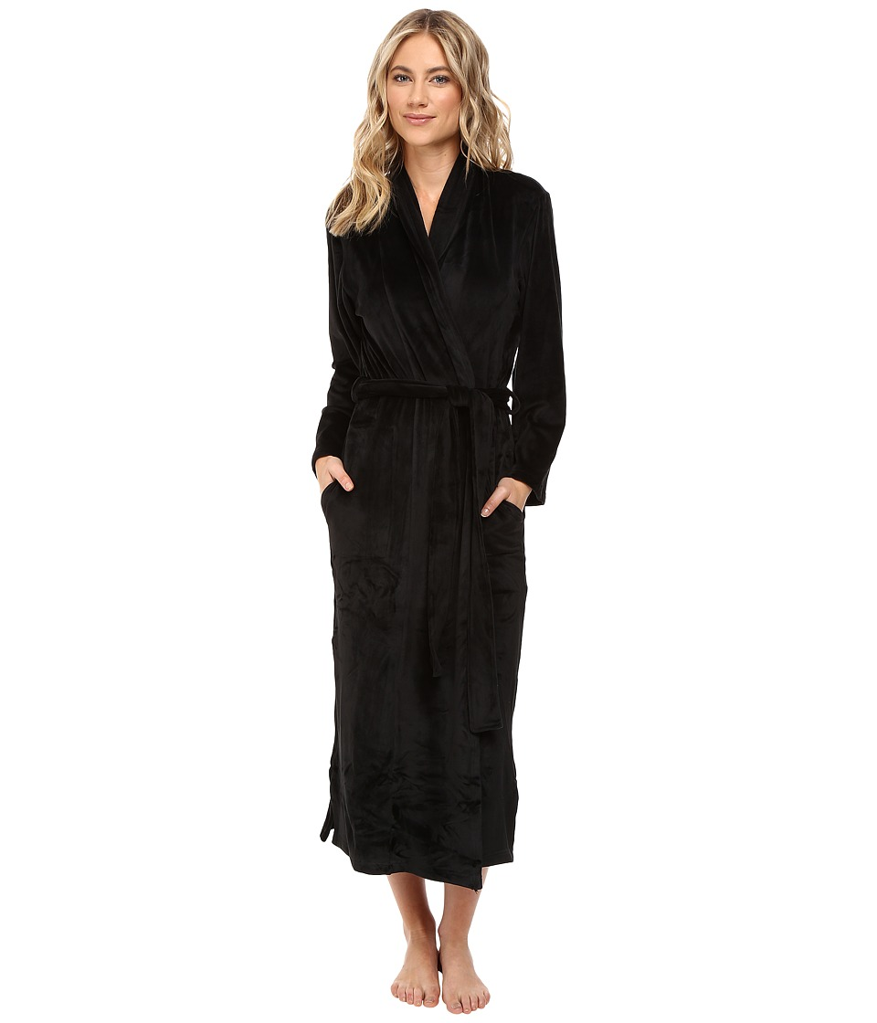 N by Natori - Velour Robe w/ Headband (Black) Women's Robe