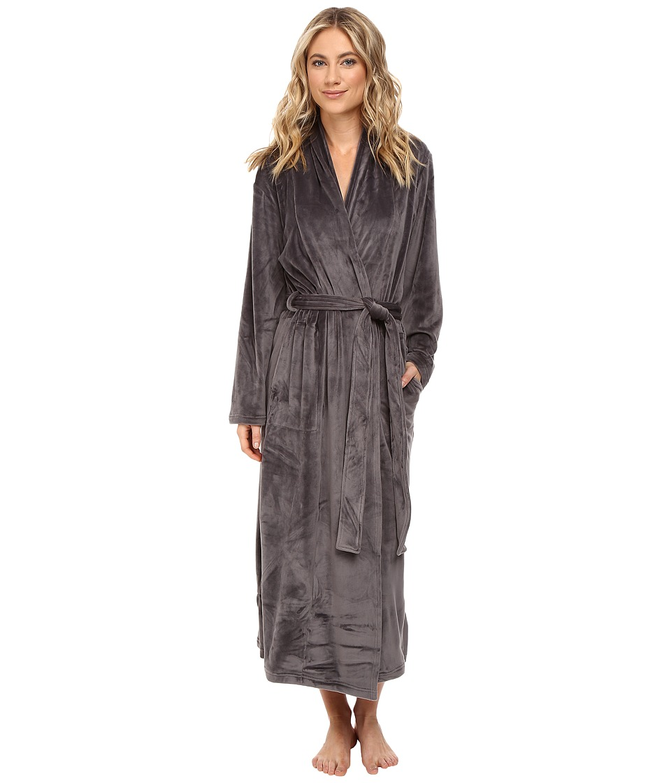 N by Natori - Velour Robe w/ Headband (Charcoal) Women's Robe
