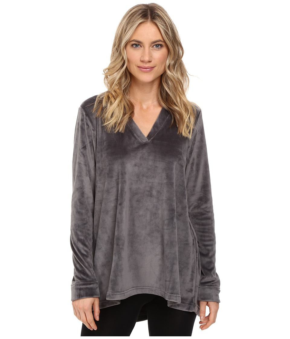 N by Natori - Velour Top (Charcoal) Women's Pajama