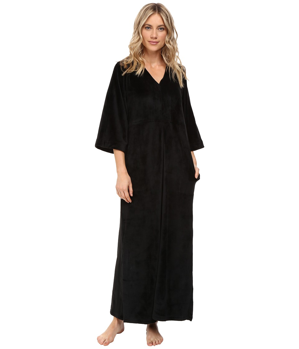 N by Natori - Velour Zip Caftan (Black) Women's Pajama