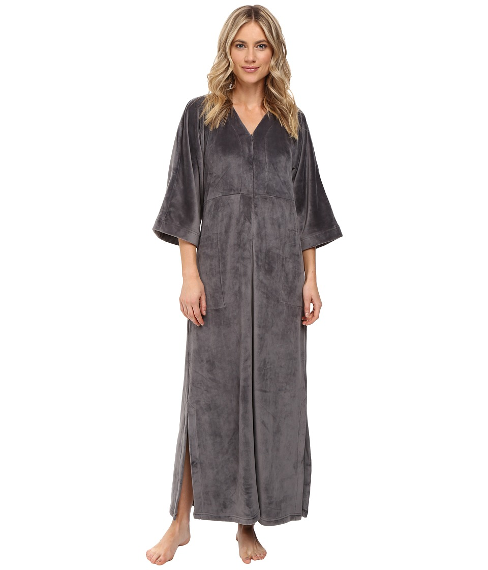 N by Natori - Velour Zip Caftan (Charcoal) Women's Pajama