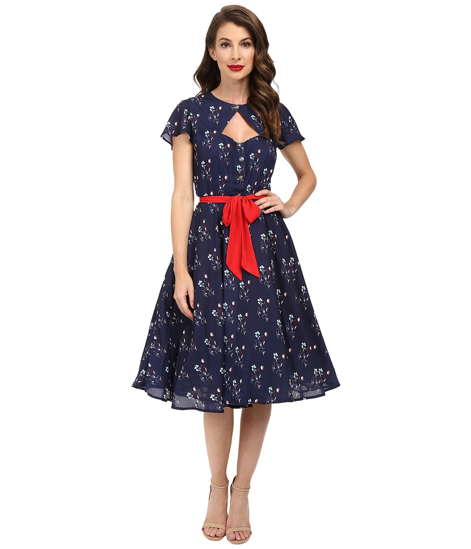 Unique Vintage - Ashcroft Short Sleeve Swing Dress (Navy Floral) Women's Dress