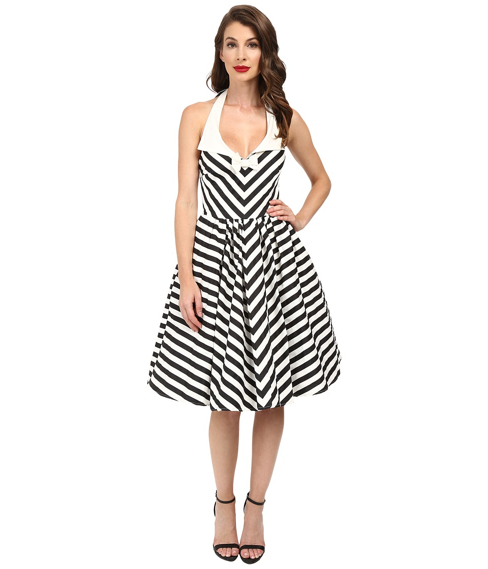 Unique Vintage - Chevron Stripe Halter Skipper Swing Dress (Black/White) Women's Dress