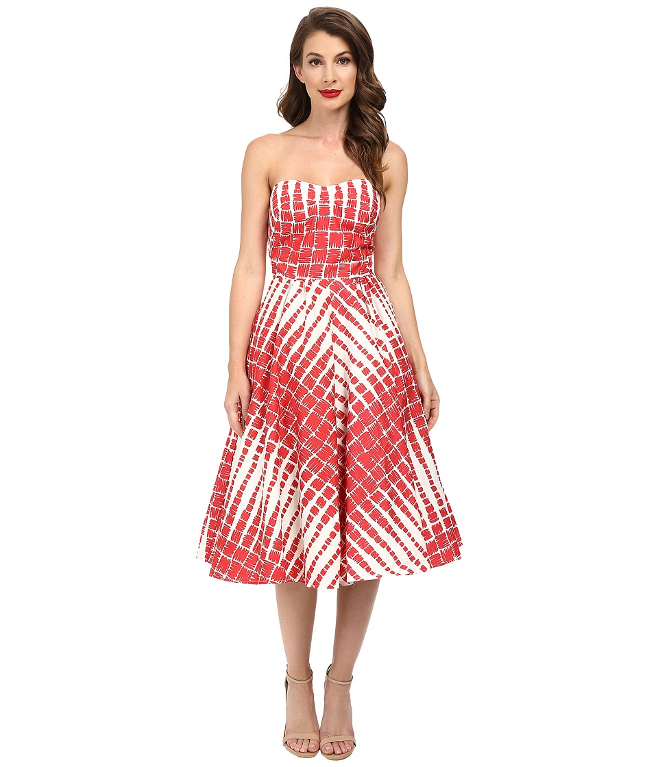 Unique Vintage - Darcy Printed Swing Dress (Red/Cream Print) Women's Dress