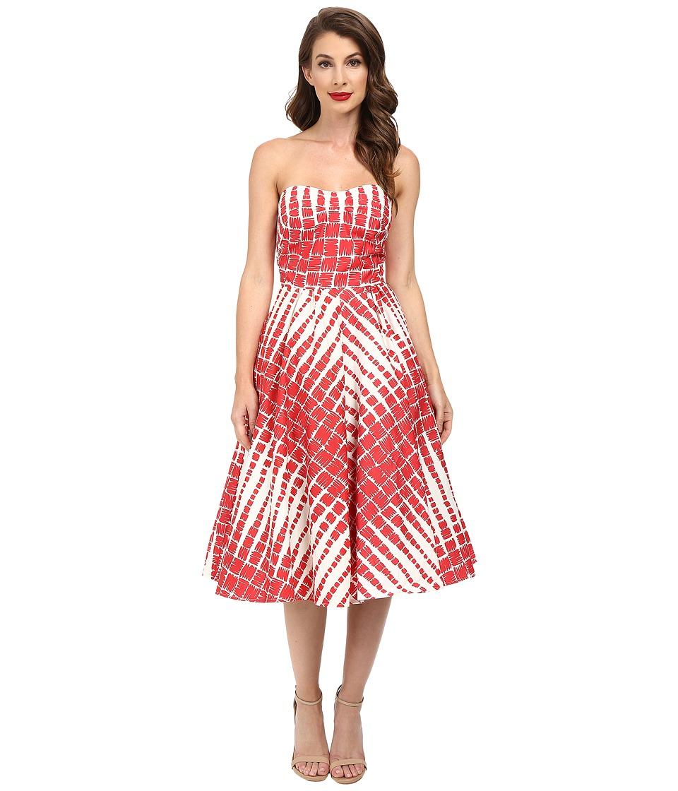 Unique Vintage Darcy Printed Swing Dress (Red/Cream Print) Women