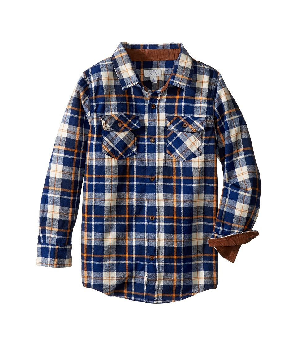 Pumpkin Patch Kids - Deep Blue Check Shirt (Little Kids/Big Kids) (Insignia Blue) Boy's Clothing