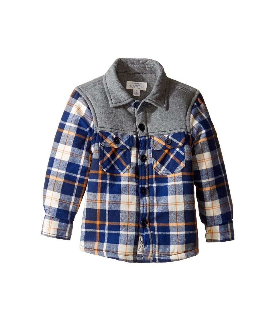 Pumpkin Patch Kids - Spliced Check Shirt Jacket (Infant/Toddler/Little Kids/Big Kids) (Insignia Blue) Boy's Coat