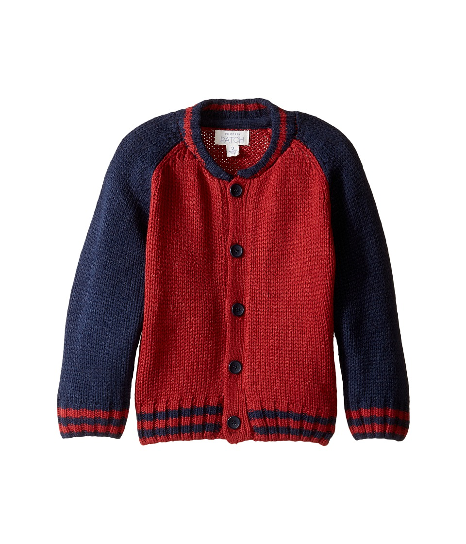 Pumpkin Patch Kids - Raglan Baseball Cardigan (Infant/Toddler/Little Kids/Big Kids) (Garnet) Boy's Sweater