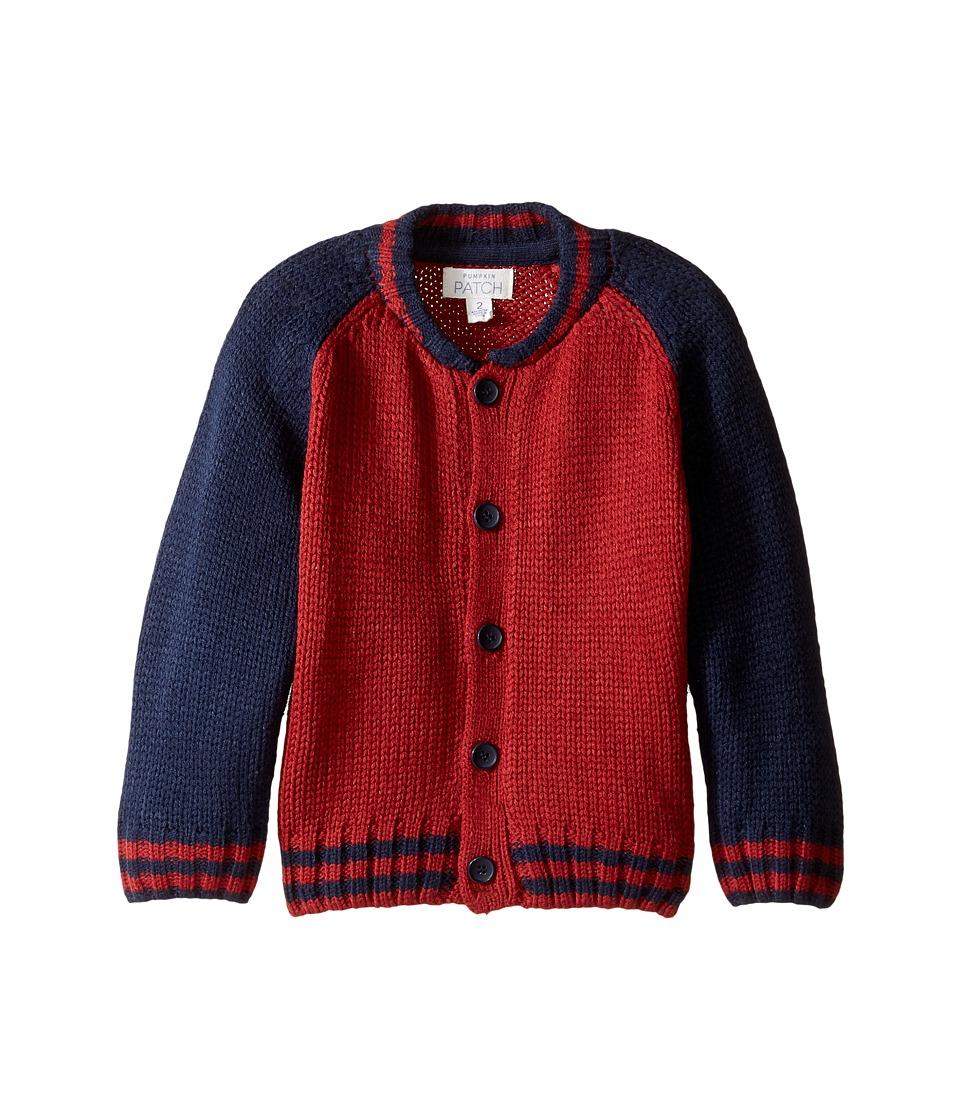 Pumpkin Patch Kids - Raglan Baseball Cardigan (Infant/Toddler/Little Kids/Big Kids) (Garnet) Boy's Sweater